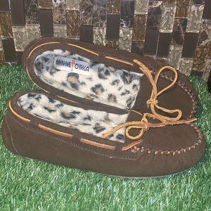 Minnetonka Leopard Lined Mocs
